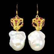 Marquise Ruby 5x2.5mm Pearl White Gold Plate 925 Sterling Silver Tiger Earrings