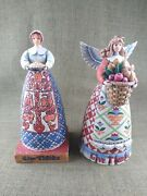 Set Of 2 Jim Shore Heartwood Creek Give Thanks Thanksgiving Figurines