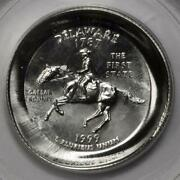 1999 Pcgs Ms67 Double Struck Counterbrockage Die Cap Delaware Quarter Mint Error