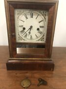 Nice Antique Working Waterbury Clock Co. Cottage Clock With Key