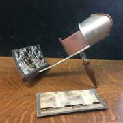 Antique 1905 The Crown Etched Metal Stereoscope Stereo Viewer W/ Cards Complete