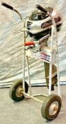 Antique 1940and039s Martin 60 Black And Silver 7.2 Hp Outboard Boat Motor And Cart Stand