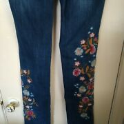 Sundance Catalog Womenand039s Magnolia Fit Embroidered Floral Dark Wash Jeans Euc