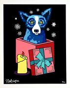 George Rodrigue Blue Dog Midnight Surprise 2000 Hand Signed And Numbered Serigraph