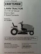 Sears Dyt4000 Craftsman 6sp 24.0 42 Lawn Tractor Owner And Parts Manual 917.275670