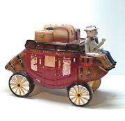 Wells Fargo And Company Stagecoach Wagon Ceramic Cookie Jar 2003 New Never Used