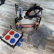 Mattel 2010 Wwe Raw Wrestling Cage Ring With Spring Loaded Mat Lot