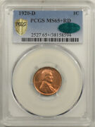 1920-d Lincoln Cent - Pcgs Ms-65+ Rd Premium Quality And Cac Approved
