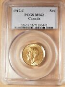 1917-c Canada Gold Sovereign, Pcgs Ms62, Very Lustrous And Bright, Low Mintage.