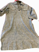 Tommy Bahama M Blue Chambray Jean Shirt Dress 3/4 Roll Tab Cotton Vneck Lace Up