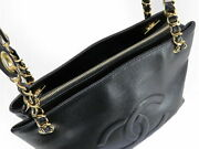 Vintage Coco Mark Caviar Skin Chain Shoulder Tote Bag Black Gold No.7823