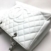 Cc Quilting Chain Tote Bag Caviar Skin Women And039s White Secondhand No.8057