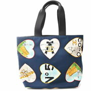 Authentic Canvas Valentine Tote Bag Heart Navy Brand Secondhand No.2655