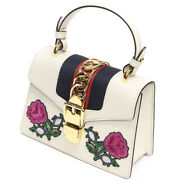 Pre-owned 470270 Sylvie 2way Handbag White Leather Free Shipping