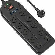 Mountable Power Strip Surge Protector With 10 Outlet 4usb Ports Flat Plug 1050j