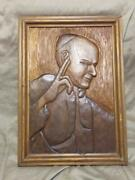 Vintage Catholic Pope John Paul Ii 2 Wood Carving Carved Wooden Panel Religious