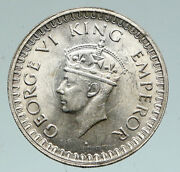 1943 B India States Uk George Vi Antique Old Silver 1/2 Rupee Indian Coin I91032
