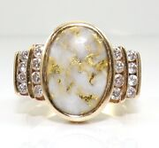 Vs 0.40ctw Diamond And Gold Bearing Quartz 14k Yellow Gold Ring Size 9 Lje2