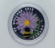Canada 2012 20 Aster And Glass Bumble Bee .9999 Silver Proof Coin