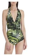 Rare Nwt Dolce And Gabbana One Piece Swimsuit Leaf Halter Green Jungle Authentic