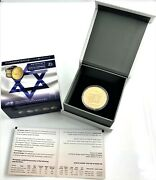 2018 Israeland039s 70th Anniversary 1/2oz. Gold Round With Box/coa And Capsule