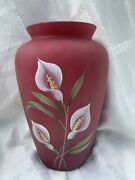 Fenton Glass George Shelly 100th Calla Lily Vase Hand Painted Satin