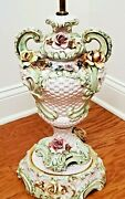 Antique Capodimonte Porcelain Italian Rose Flower Victorian Lamp With Shade