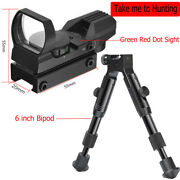 Holographic Reflex Red Green Dot Sight 4 Reticle 6 Tactical Bipod Spring Return