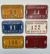Maine Bicycle License Plates Rare Authentic Lot Of 6 Dover-foxcroft 1950's Metal