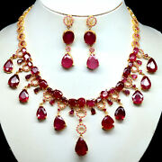 Natural Set Red Ruby Pink Sapphire And Zircon Necklace With Earrings 925 Silver