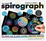 New Original Spirograph Scratch And Shimmer Set With Glitter Wheels And Deluxe Ring