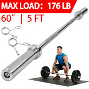 60 Chrome Olympic Barbell Lifting Bar Weight Workout Gym Bench Workout 176 Lb