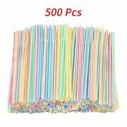 Disposable Plastic Drinking Straws Striped Bendable Elbow Straws Party Supplies