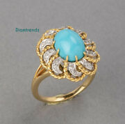 Oval Shape Turquoise And 1/2ct Vintage Natural Diamonds Halo Ring 14k Yellow Gold