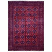 8and0392x11and0392 Deep Red Afghan Khamyab Geometric Design Wool Hand Knotted Rug R67700