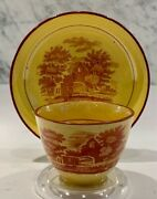 Early English Canary Transfer Wood Staffordshire Fisherman Swan Cup Saucer 18thc