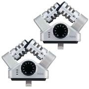 Zoom Iq6 Stereo Lightning Connector X/y For Ios Microphone Recorder 2 Pack