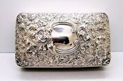 Antique Sterling Silver Gilded Flowers Pattern Rectangle Jewelry Trinket Box