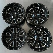 Used 20x12 D6 Fit Lifted Chevy 8x165.18x6.5 -44 Black Milled Wheels Set4