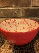 Pfaltzgraff Andldquomerry Christmasandrdquo Candy Dish/multi Use Bowl. Holiday Red And White