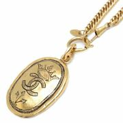 Auth Gold Plated Coco Mark Pendant Long Necklace 29.52 Inches /095130