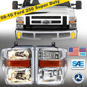 For 08-10 Ford 250 Super Duty Replacement Chrome Headlights Headlamps Assembly