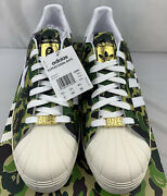 Adidas X Bape Superstar 80s Abc Green Camo Menandrsquos Size 14 In Hand Ds