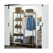 Better Homes And Gardens Farmhouse Grey Wood And Metal Garment Rack Gray New