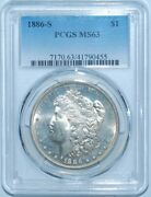 1886 S Pcgs Ms63 Morgan Silver Dollar Nearly Prooflike