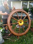 Antique Old American 66 Inch Ships Boat Steering Wheel Wood Brass Nautical