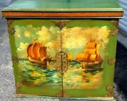 Antique Nautical Ships Oil Painting Painted Mission Cabinet Wood Chest Furniture