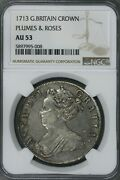 Great Britain 1713 Crown Plumes And Roses Ngc Au 53 S297