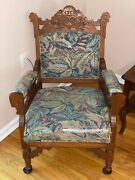 Antique Oak Carved Eastlake Lounge Parlor Armchair W/ Cushioned Seating