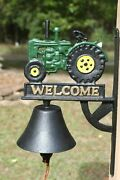 Green Tractor Decor Christmas Gift Welcome Bell Tractor 12 1/2 Cast Iron H-138